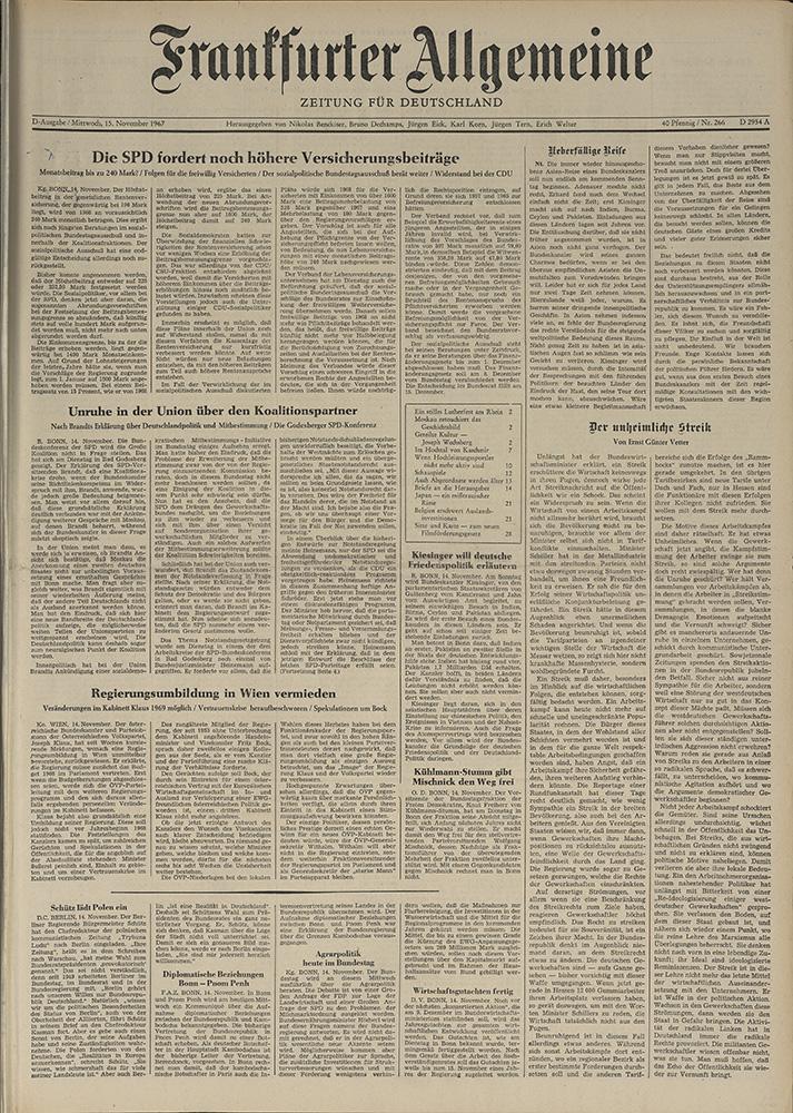 Газета. «Frankfurter Allgemeine Zeitung». № 226. Первая публикация романа «Мастер и Маргарита» на немецком языке. 15 ноября 1967 г.