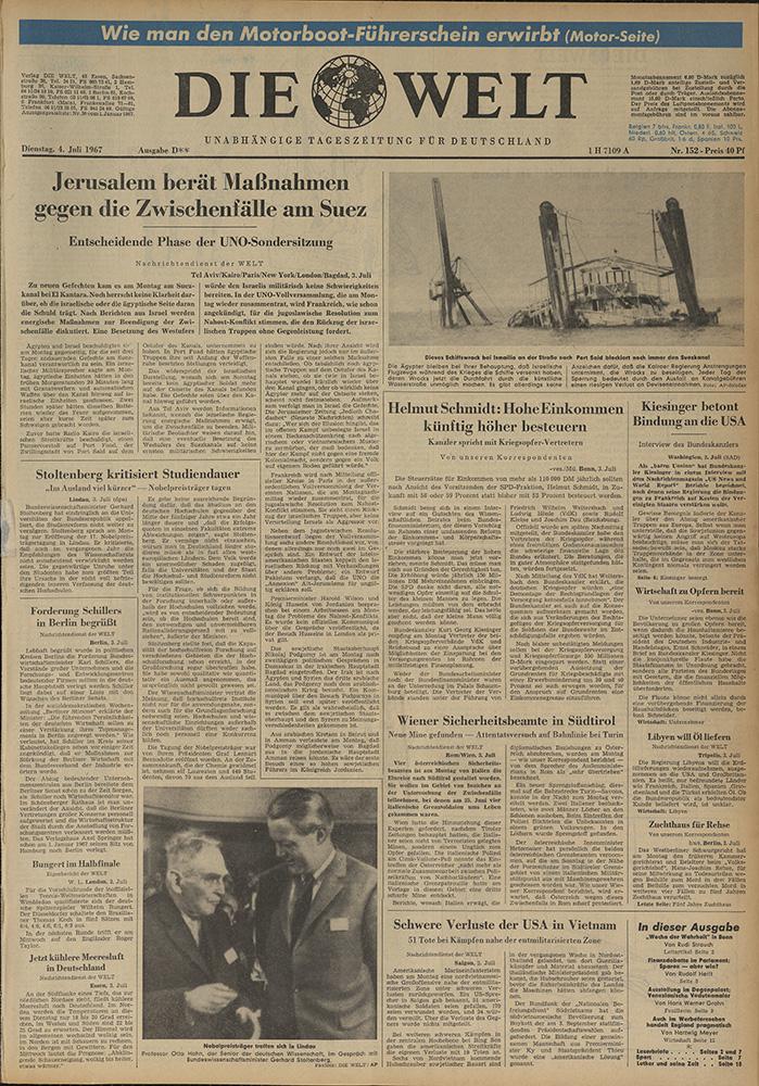 Газета. «Die Welt». № 152. 4 июля 1967 г.