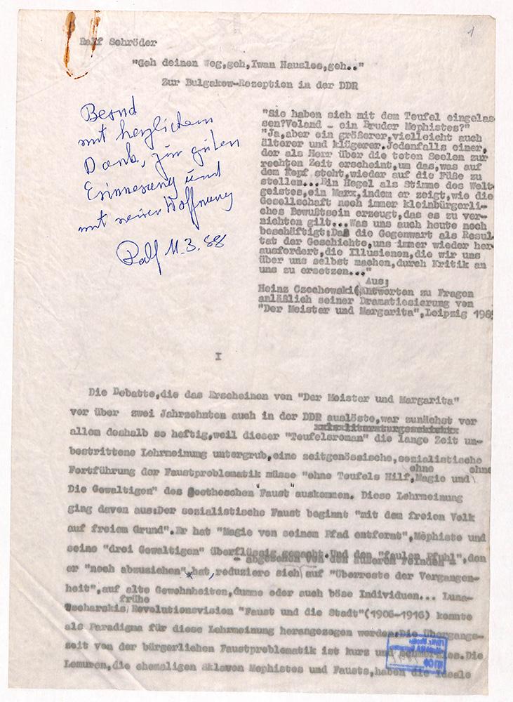 Машинопись. Статья «Geh deinen Weg, geh, Iwan Hauslos, geh». С дарственной надписью автора Бернду Румпу (Bernd Rump). 11 марта 1988 г.