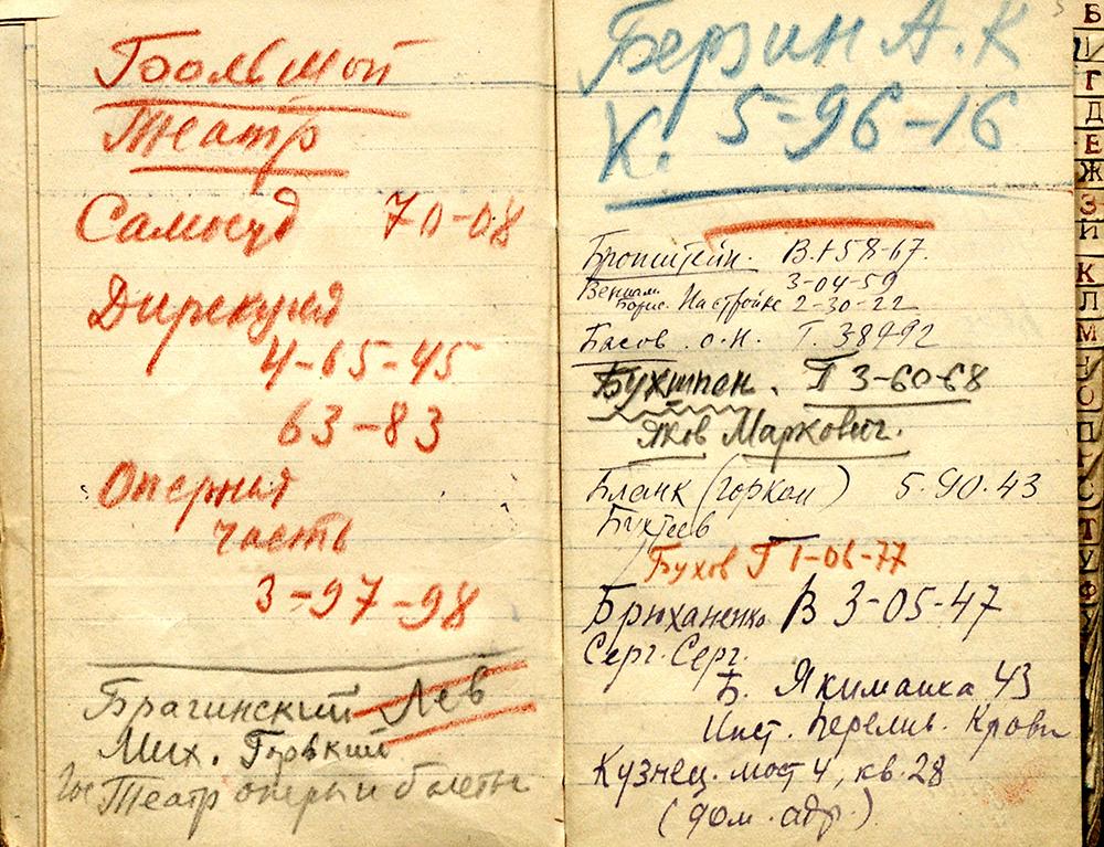 Записная книжка М.А. Булгакова с телефонами и адресами. 1932 – сер. 1930-х гг.