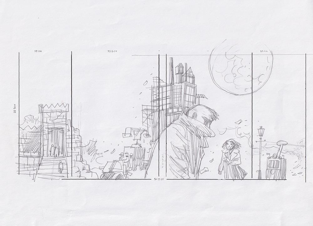 Рисунок. Композиционный скетч к развёртке обложки французского издания комикса «Le Maître & Marguerite». 2005 г. Заславский М.Г.