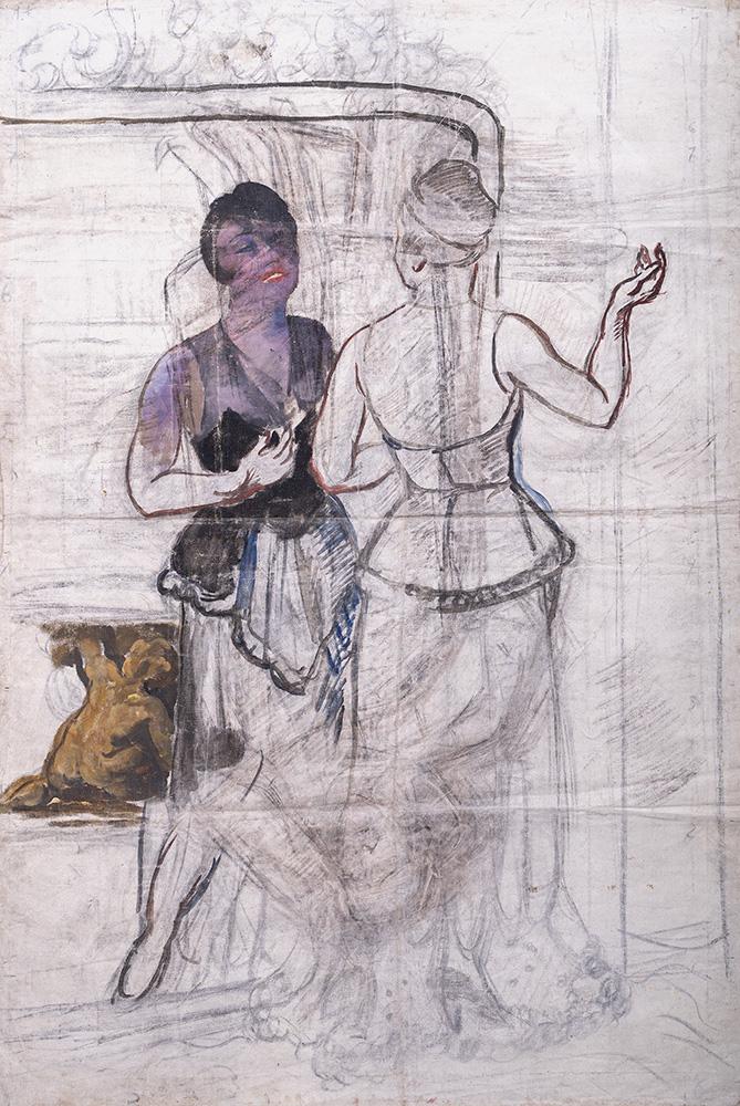 Эскиз. Неоконченный портрет Е.В. Гельцер. 1934 г. Кончаловский П.П.